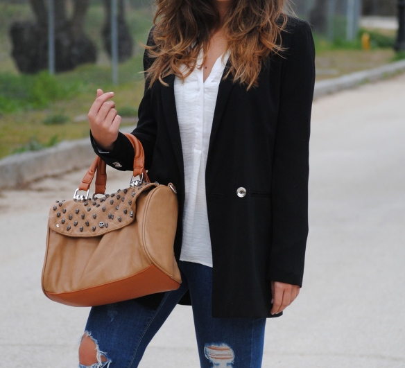 light brown handbag