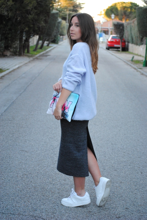 pastel blue knit sweater