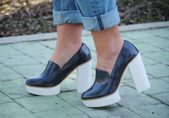 grey chunky heel shoes
