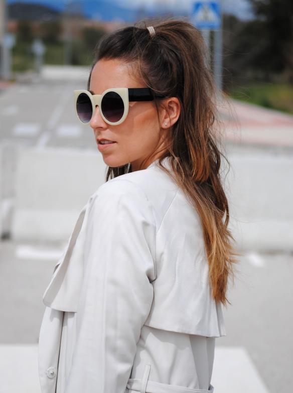 cream cat eye sunglasses