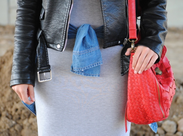 red long strap bag