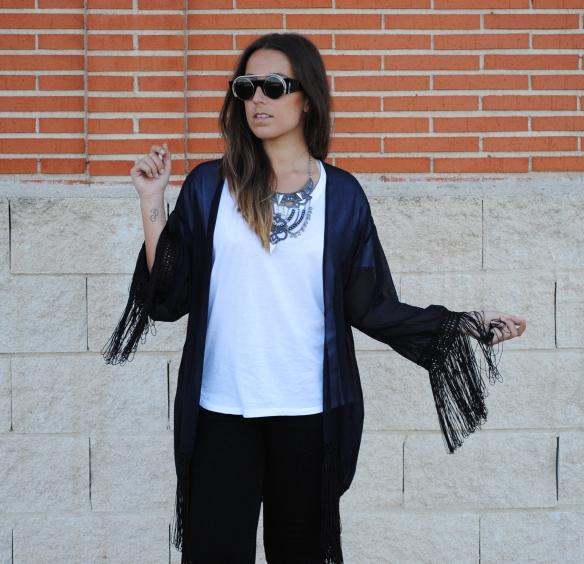 navy blue fringed kimono
