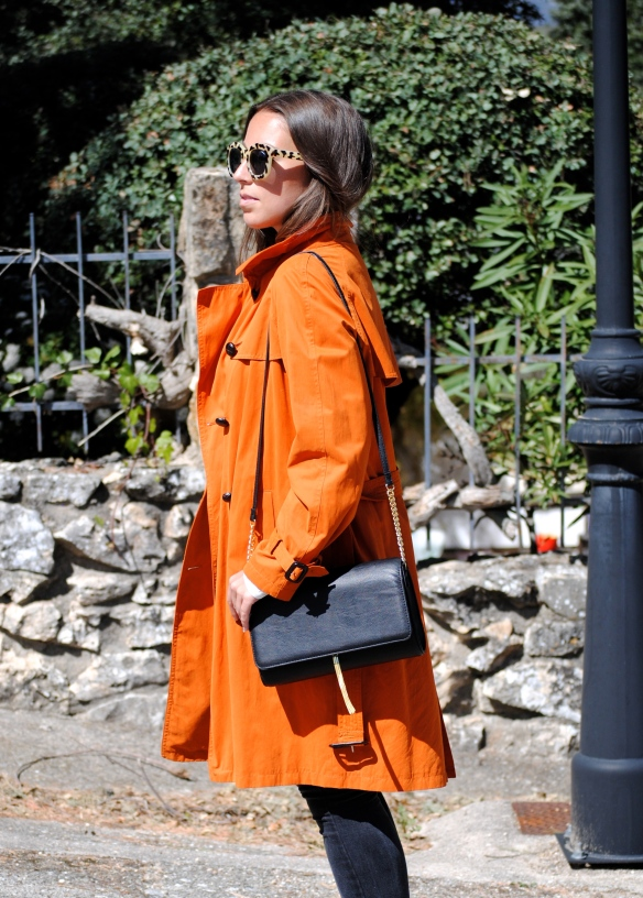 tangerine trench coat