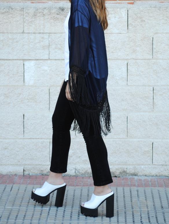kimono azul marino