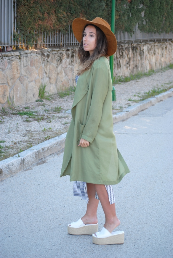 khaki green long jacket