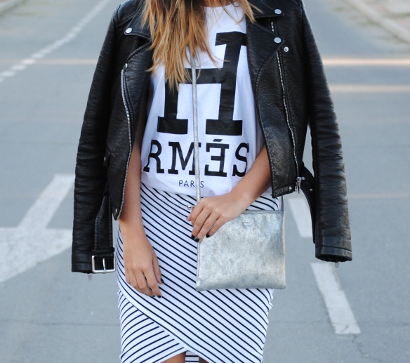 wrapped stripped skirt