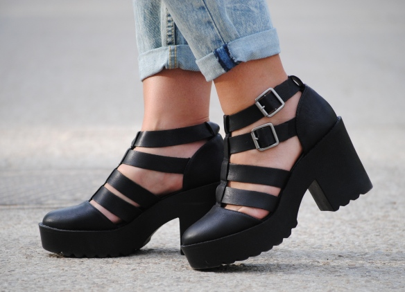chunky heel caged booties
