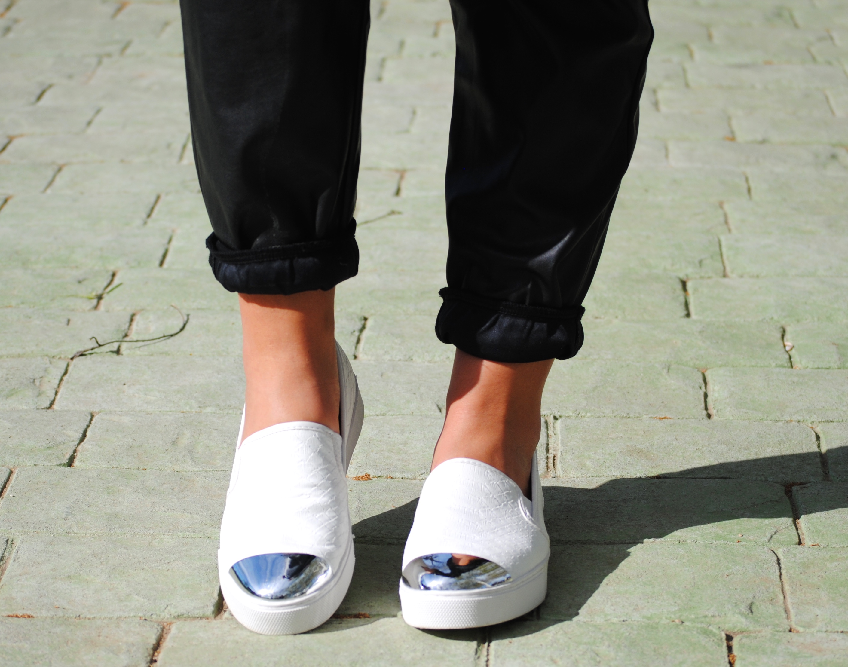 metallic toe cap slip ons