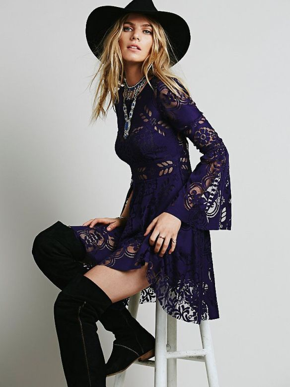 lace dress bell sleeves