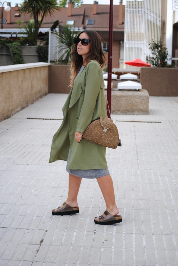 long khaki green jacket