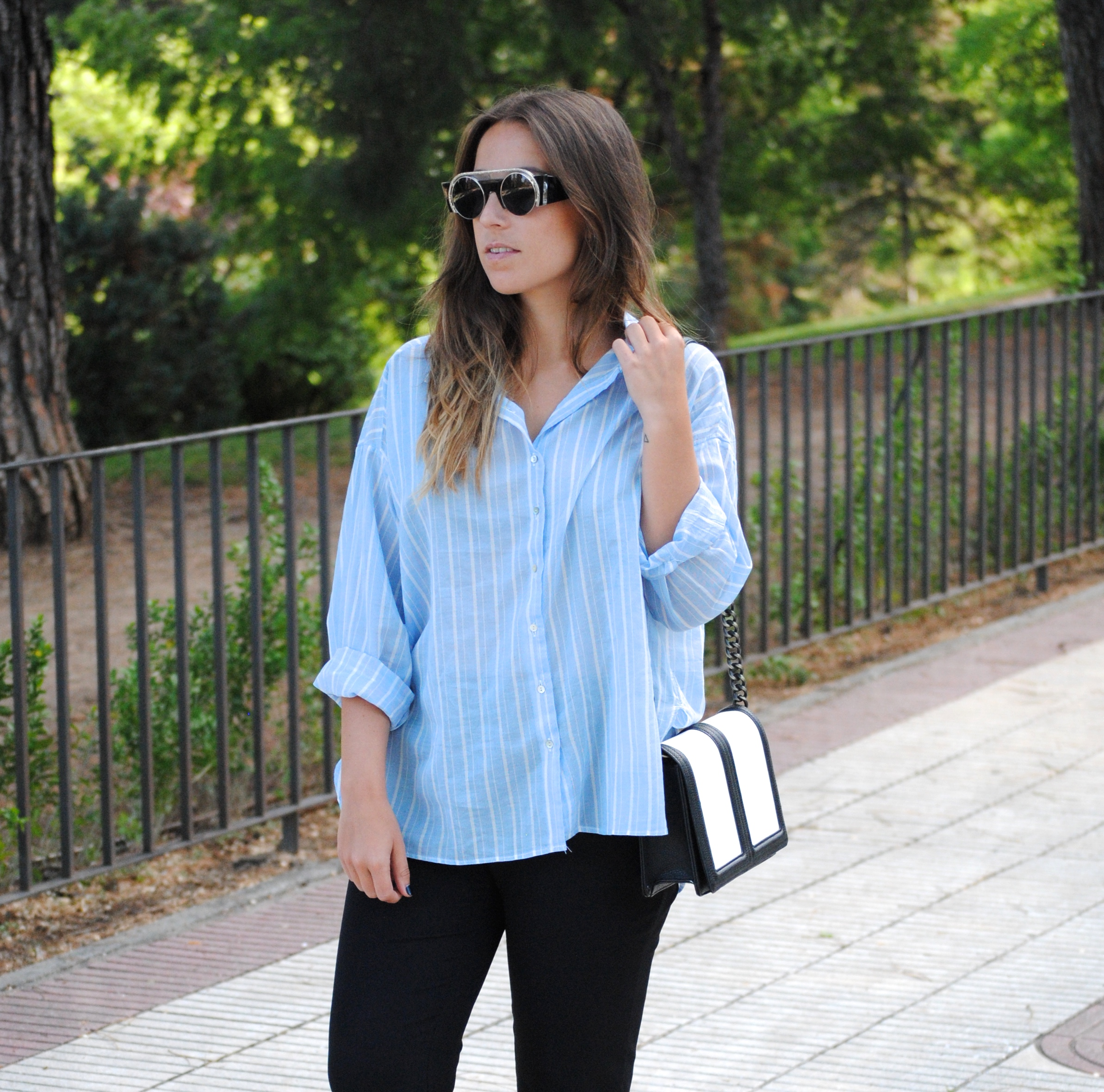 oversized stripped blue shirt
