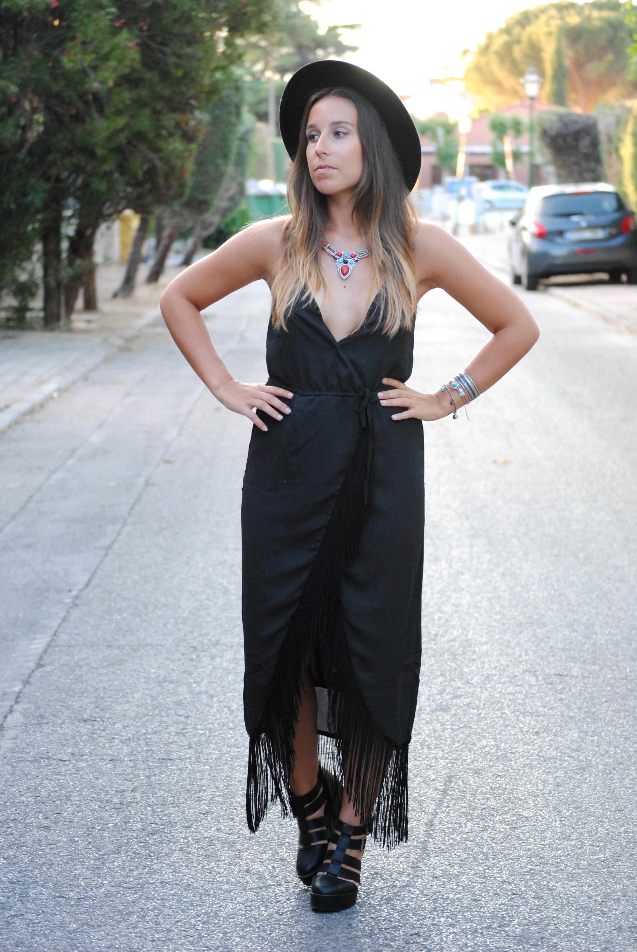 black midi fringed dress