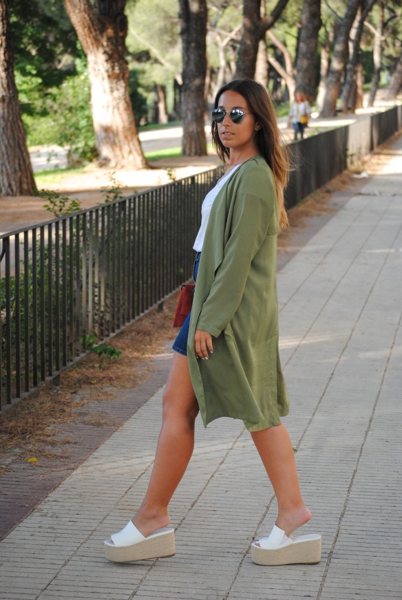 khaki green duster coat