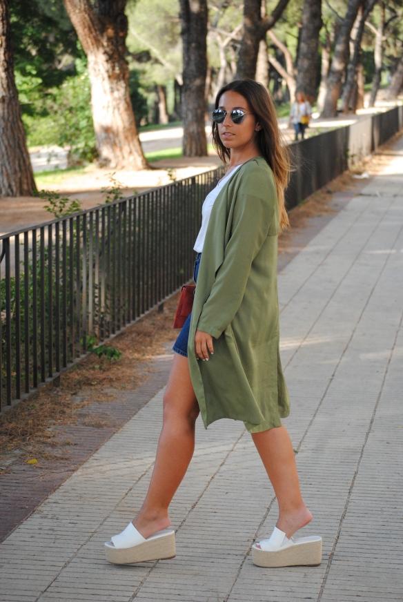 khaki green duster coat
