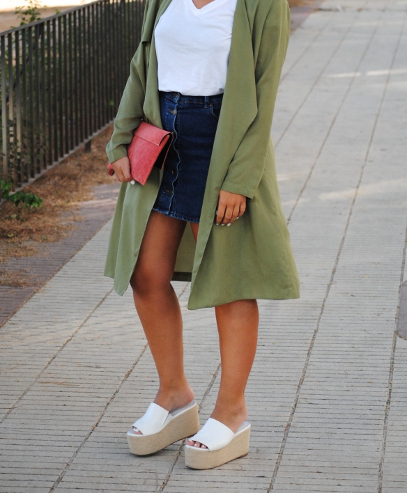 a line denim midi skirt