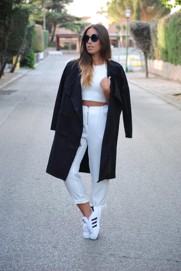 pantalones blancos cintura alta