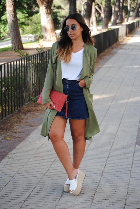 chaqueta larga verde khaki
