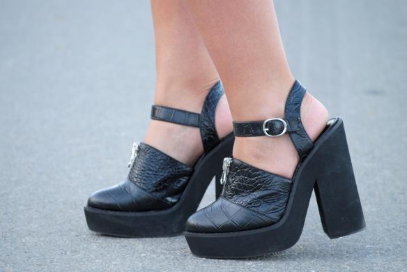 front zip black heels