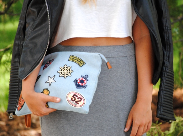 denim patchwork clutch