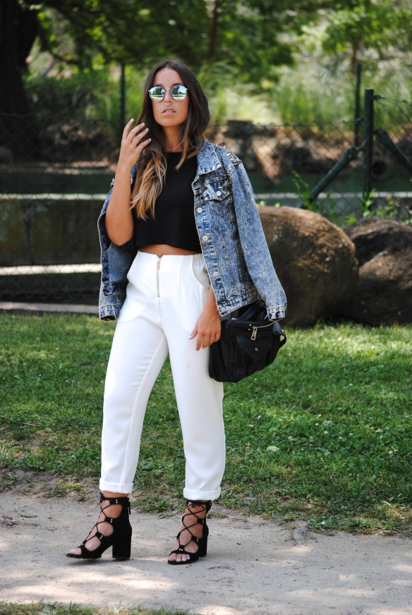 pantalones traje blancos