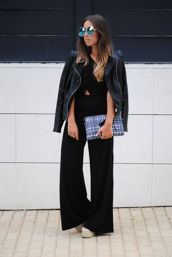 wide  leg black jumpsuit