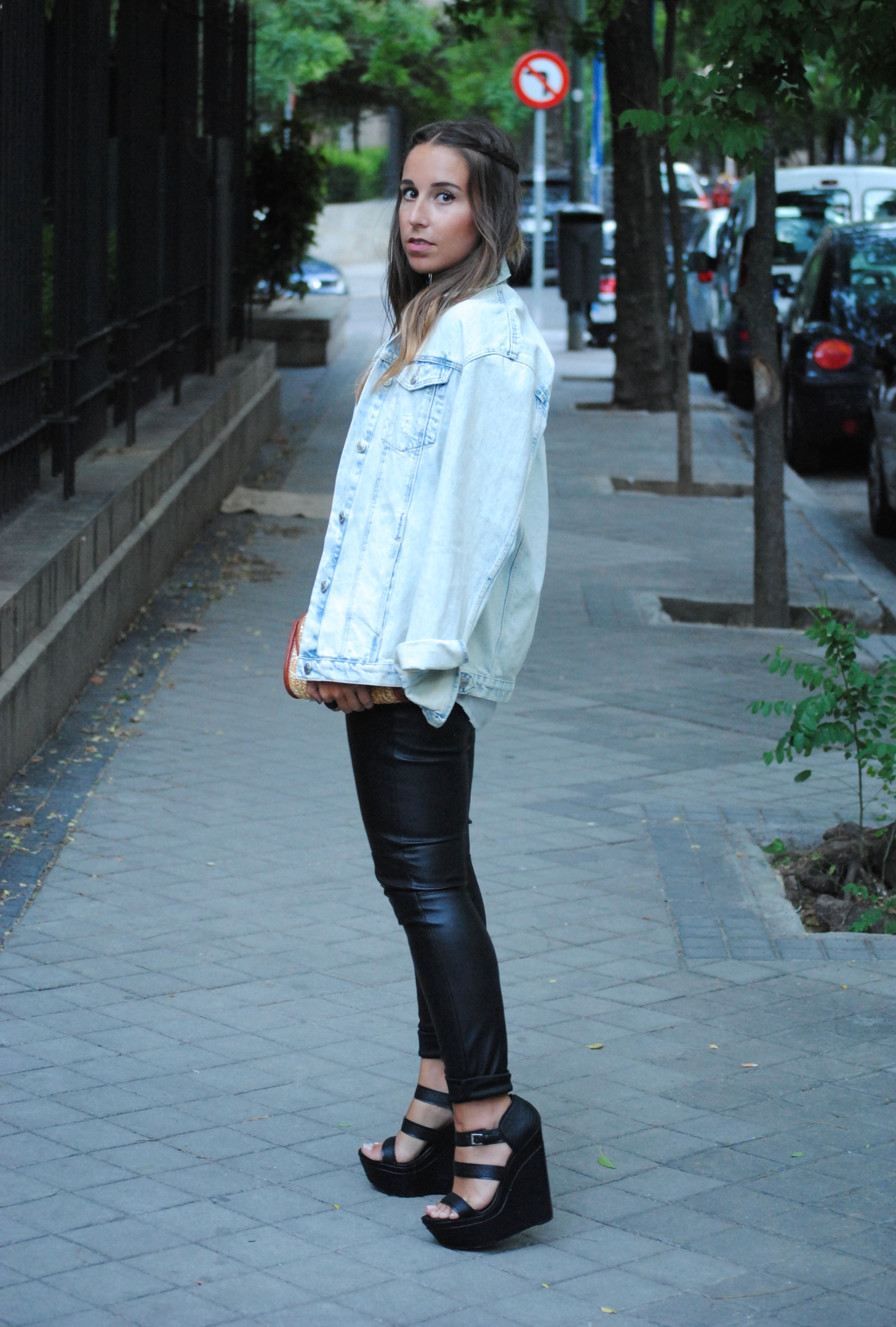 denim and leather look