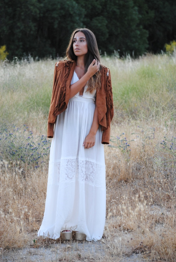 chaqueta flecos ante marrón
